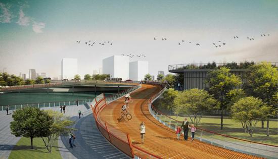 这12座园桥不仅风格迥异、造型新颖,而且起到了连接贯通的交通功能,着重突出慢行理念,将漫步、跑道和自行车道三线合一。    2017年底,黄浦江两岸45公里公共空间将基本实现贯通开放。在黄浦江东岸,12座突出慢行理念的园桥,已进入全面建设阶段,将于年底陆续完工,打通东岸断点。   园桥,是指将绿地、建筑、河道景观融为一体的桥梁。与过去桥梁的主要功能为车行不同,这12座园桥不仅风格迥异、造型新颖,起到了连接贯通浦江岸线的交通功能,而且着重突出慢行理念,将步行道、跑道和自行车道三线合一。  黄浦江东